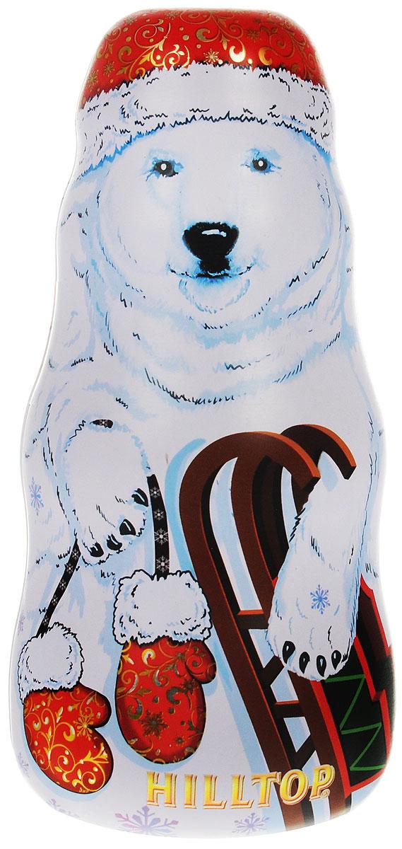 Hilltop Белый медведь Праздничный черный листовой чай, 100 г4607099302877Праздничный крупнолистовой черный чай в сочетании с цветами календулы и василька спрятан в подарочной упаковке чая Hilltop Белый медведь. Смесь содержит сладкие цукаты манго и банана, и своим фруктовым ароматом согреет вас зимними вечерами. Необычный дизайн упаковки в виде снеговика позволит украсить ваш дом или просто поставить его под новогоднюю елку!