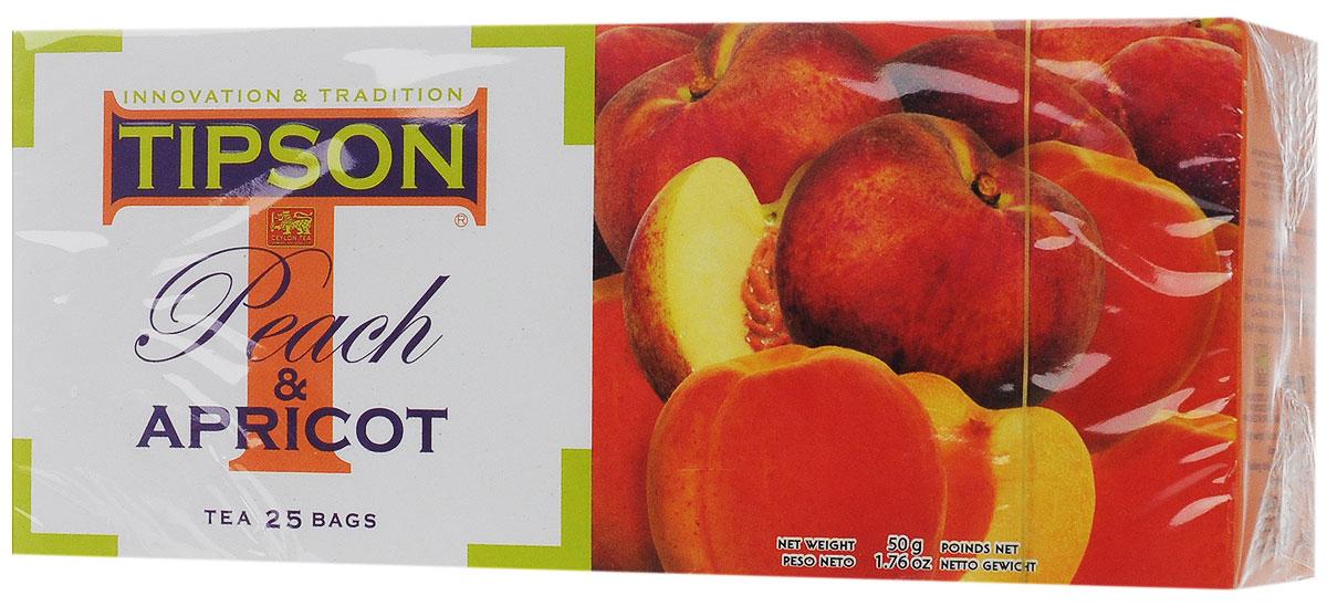 Tipson Peach & Apricot черный чай в пакетиках, 25 шт80024-00Чай чёрный цейлонский байховый листовой Tipson Peach & Apricot с ароматами персика и абрикоса в пакетиках с ярлычками для разовой заварки. Нежный, сладковатый аромат персика и абрикоса, в сочетании с терпким вкусом чёрного цейлонского чая, создаёт яркую индивидуальность этого восхитительного напитка, который приятно употреблять как в горячем, так и в охлаждённом виде.