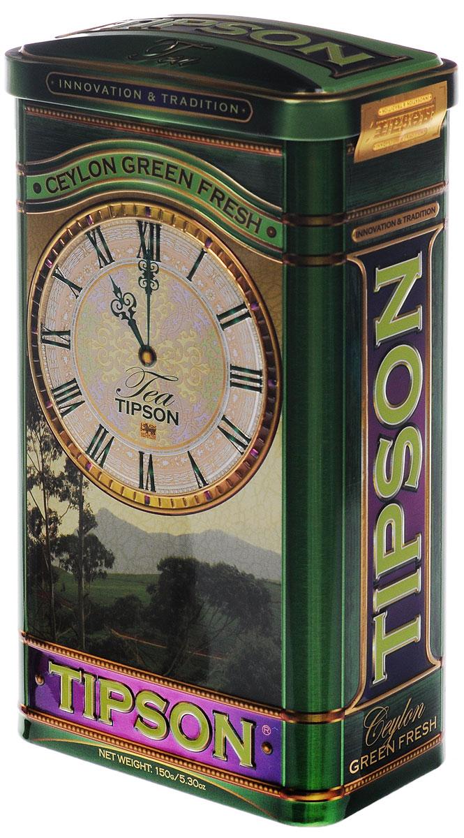 Tipson Green Fresh зеленый листовой чай, 150 г (жестяная банка)80015-00Крупнолистовой чай Tipson Green Fresh обладает ярко-выраженной терпкой ноткой. В приготовлении чая использованы самые нежные и молодые чайные листья, что придает чаю целебные свойства и гармоничный вкус.