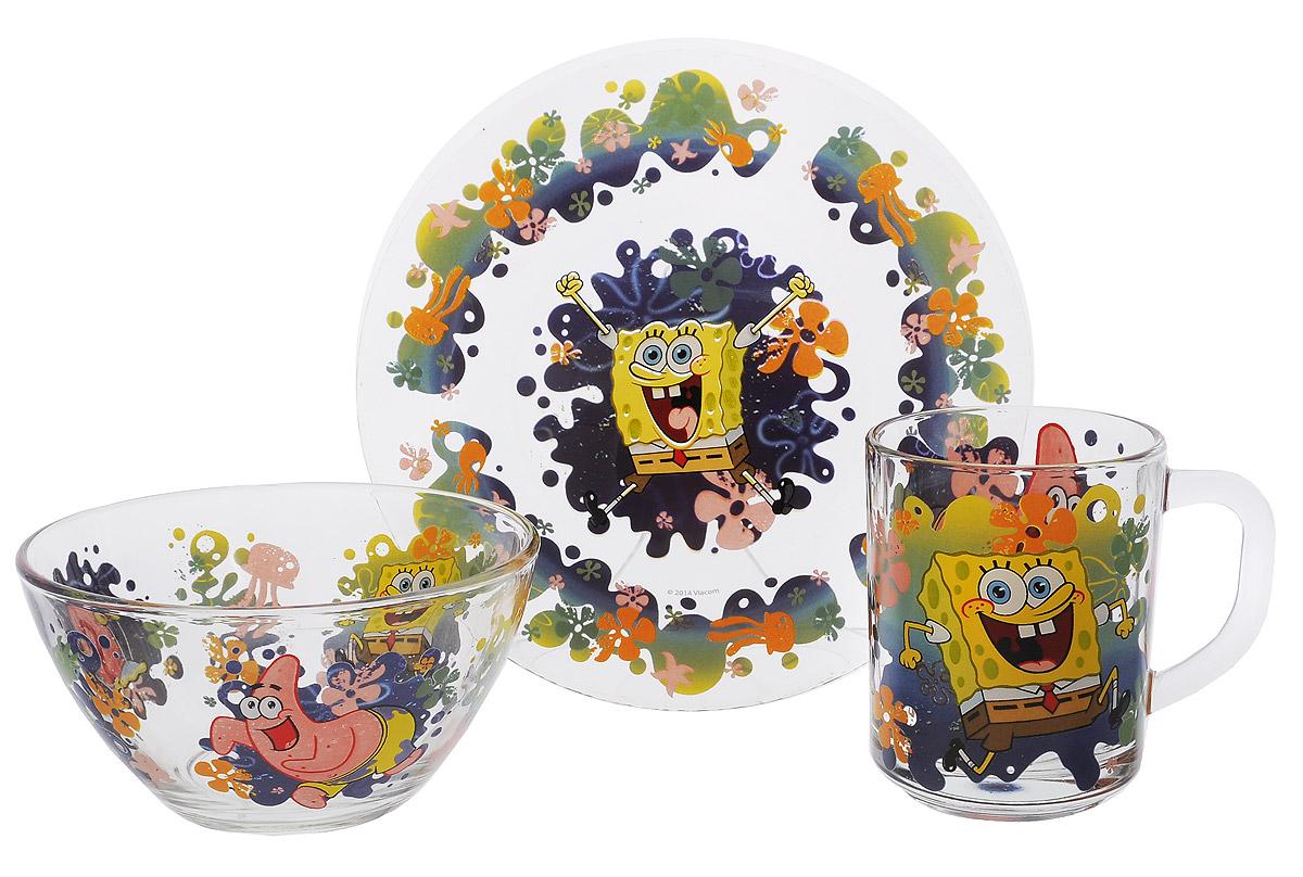 Губка Боб Набор посуды Водный мир, 3 предметаГБН3-2Красочный набор посуды Губка Боб, выполненный из качественного стекла, идеально подойдет для повседневного использования. В комплект входят: тарелка диаметром 19,5 см, салатник диаметром 13 см и кружка объемом 250 мл. Все предметы выполнены в оригинальном дизайне с изображением забавных героев из мультфильма Губка Боб. Набор упакован в коробку из плотного картона. Набор посуды непременно доставит массу удовольствия своему обладателю. Допустимо использование в посудомоечной машине и СВЧ. Рекомендуется для детей от: 3 лет.