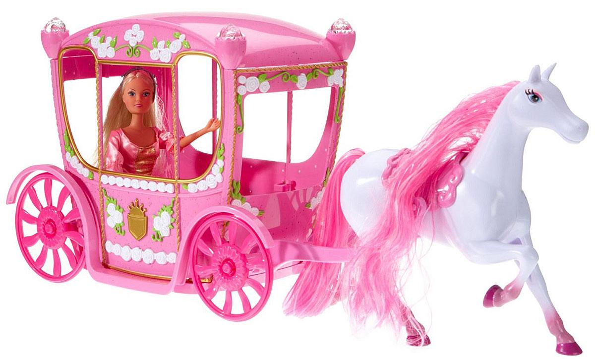 Simba Игровой набор с куклой Штеффи в сказочной карете5739125Игровой набор Штеффи в сказочной карете привлечет внимание вашей малышки и не позволит ей скучать. В этом наборе Штеффи становится сказочной принцессой, а принцессе нужна сказочная карета - розовая, украшенная золотым гербом и запряженная белой лошадкой с длинной розовой гривой. Колеса у кареты крутятся, а на крыше находится главный сюрприз: установленные наверху фонарики можно достать и надеть на пальчик, потому что это настоящие колечки с блестящими камушками, которые обязательно понравятся маленькой хозяйке куклы. Штеффи одета в роскошное розовое платье с золотой вставкой на груди и богато расшитым подолом. На голове у куколки серебристая корона. Волосы Штеффи и грива лошадки хорошо расчесываются и поддаются укладке. Ваша малышка будет в восторге от такого подарка!