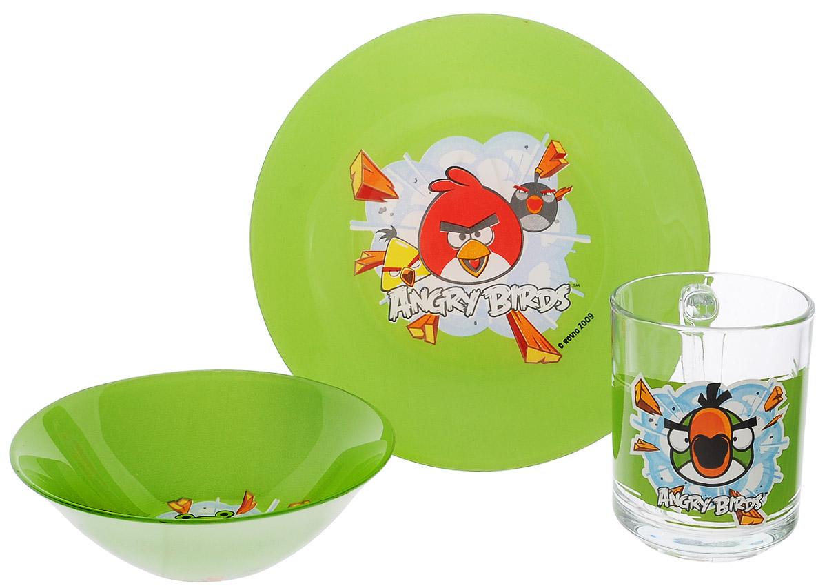 Angry Birds Набор посуды, цвет: зеленый, 3 предмета1057900Красочный набор посуды Angry Birds, выполненный из качественного стекла, идеально подойдет для повседневного использования. В комплект входят: тарелка с диаметром 19 см, пиала объемом 500 мл и кружка объемом 250 мл. Все предметы выполнены в оригинальном дизайне с изображением забавных героев из мультфильма Angry Birds. Набор упакован в коробку из плотного картона. Набор посуды непременно доставит массу удовольствия своему обладателю.