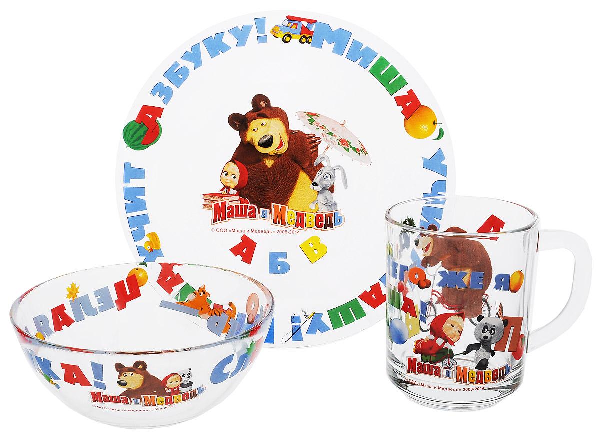 Маша и Медведь Набор посуды Азбука, 3 предмета9559002Красочный набор посуды Маша и Медведь. Азбука, выполненный из качественного стекла, идеально подойдет для повседневного использования. В комплект входят: тарелка с диаметром 19 см, салатник объемом 500 мл и кружка объемом 250 мл. Все предметы выполнены в оригинальном дизайне с изображением забавных героев из мультфильма Маша и Медведь. Набор упакован в коробку из плотного картона. Набор посуды непременно доставит массу удовольствия своему обладателю. Допустимо использование в посудомоечной машине и СВЧ. Рекомендуется для детей от: 3 лет.