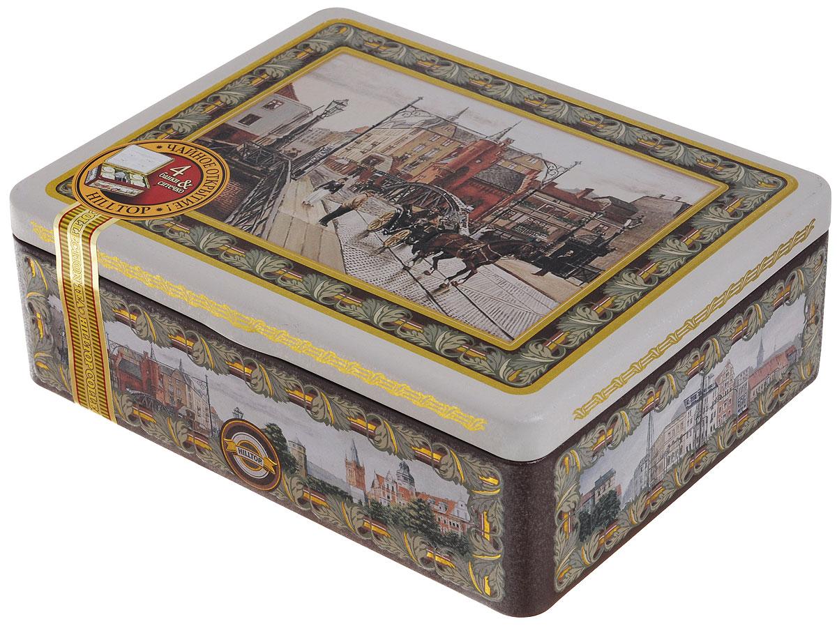 Hilltop Английская шкатулка набор зеленого и черного листового чая в шкатулке, 200 г4607099301122Прикоснитесь к английской традиции чаепития — наследию британских королей. Одной из главных черт английского чаепития является несколько видов чая, одновременно подаваемых к столу на выбор. Жестяная шкатулка чая Hilltop Английская шкатулка включает в себя 4 жестяные чайницы и металлическое заварное ситечко. Красивая упаковка несомненно будет яркой деталью на вашем столе! Цейлонский чай — особый сорт черного цейлонского байхового среднелистового чая, содержащий большое количество эфирных масел, с богатым вкусом, насыщенным ароматом и выраженным тонизирующим эффектом. Королевское золото — черный чай стандарта Супер Пеко с лучших плантаций Цейлона. Выращен в экологически чистой зоне. Настой с глубоким золотистым цветом и изумительным ароматом. Японская липа — зеленый чай с изысканным сочетанием японской липы, лимонной цедры и ромашки. Его главной особенностью является поэтапное раскрытие вкусовой композиции. 1001 Ночь — загадочная, как...