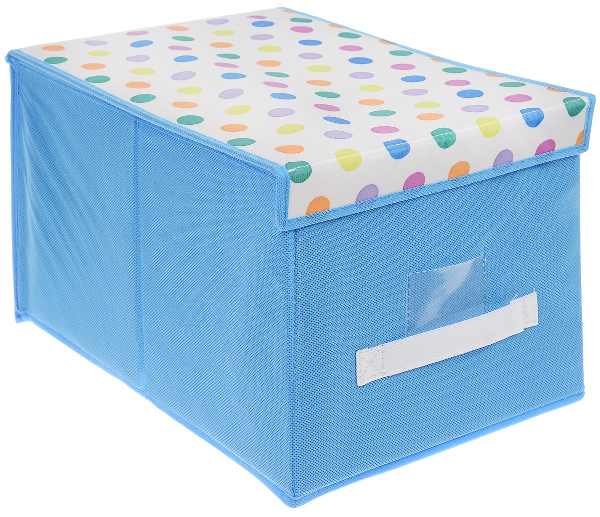 Чехол-коробка для хранения вещей Voila Kids, цвет: голубой, белый, 30 х 40 х 25 смCOVLSCBY12K_голубойЧехол-коробка Voila Kids выполнен из полипропилена. Изделие предназначено для хранения вещей. Он защитит вещи от повреждений, пыли, влаги и загрязнений во время хранения и транспортировки. Чехол-коробка идеально подходит для хранения детских вещей и игрушек. Жесткий каркас из плотного толстого картона обеспечивает устойчивость конструкции. Крышка, оформленная принтом горох, закрывается на липучки. В прозрачном окне-кармашке на передней стенке чехла можно поместить бумажную этикетку с указанием содержимого чехла-коробки.