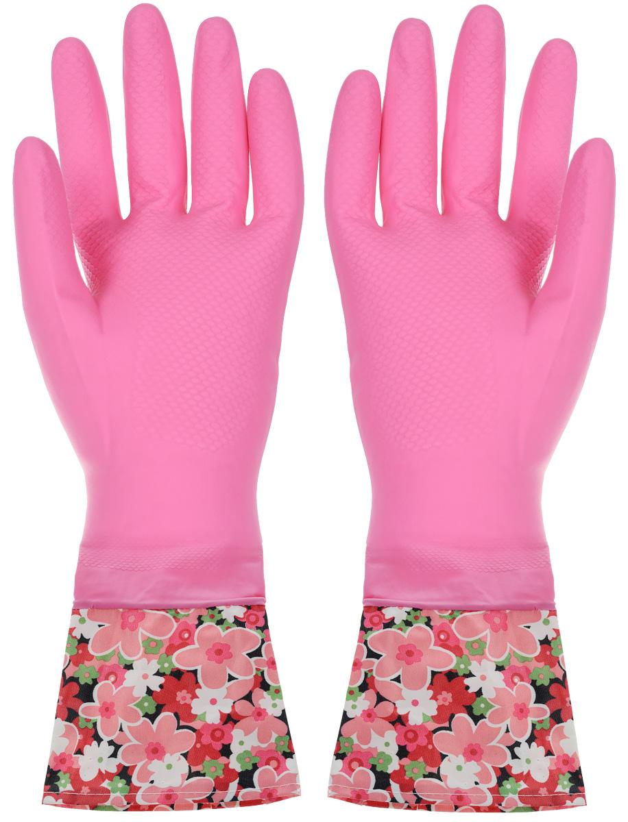 Перчатки хозяйственные Youll love, с манжетами, цвет: розовый. Размер M56486_розовыйПерчатки Youll love изготовлены из высокопрочного латекса и незаменимы при различных хозяйственных работах. Внутреннее хлопковое покрытие обеспечивает комфорт рукам и защищает от раздражений. Высокие манжеты препятствуют попаданию воды и грязи. Благодаря рифленой поверхности удобно удерживать мокрые предметы.