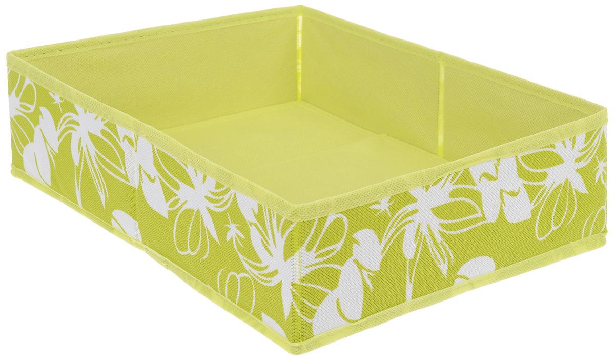 Коробка для хранения Hausmann Цветы, цвет: салатовый, белый, 27 см х 33 см х 10 смSC-2733_салатовый, белыйКоробка для хранения Hausmann Цветы поможет легко организовать пространство в шкафу или в гардеробе. Изделие выполнено из нетканого материала. Коробка держит форму благодаря жесткой вставке из картона, которая устанавливается на дно. Боковая поверхность оформлена ярким цветочным принтом. В такой коробке удобно хранить одежду, нижнее белье, носки и различные аксессуары.