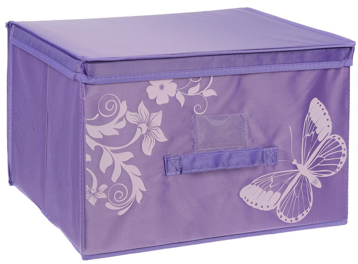 Коробка для хранения Hausmann Butterfly, цвет: фиолетовый, 43 х 27 х 27 см4P-102-4C_фиолетовый, розовыйКоробка для хранения Hausmann поможет легко организовать пространство в шкафу или в гардеробе. Изделие выполнено из нетканого материала и полиэстера с защитой от пыли. Коробка держит форму благодаря жесткой вставке из картона, которая устанавливается на дно. Боковая поверхность оформлена красивым принтом и изображением бабочки. Имеется ручка, крышка и прозрачный карман для пометки содержимого. В такой коробке удобно хранить одежду, текстиль, нижнее белье и различные аксессуары. Может быть использована как выдвижной ящик.
