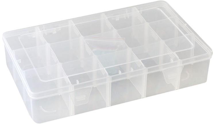Органайзер для рукоделия Белоснежка, 15 секцийBO-153 Органайзер, 15 отд.Органайзер Белоснежка выполнен из высококачественного прозрачного пластика в виде небольшой коробочки с одинаковыми отделениями внутри. Такой органайзер используется мастерицами для хранения различных бусин, бисера, пайеток и других мелких предметов. Конструкция органайзера включает специальный запорный механизм для безопасности. С таким органайзером у вас всегда будет порядок на вашем рабочем столе.
