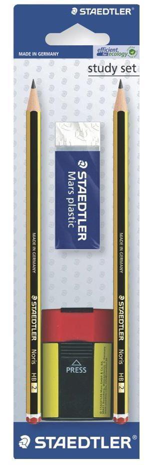 Карандаши чернографитные Noris HB 2 шт + ластик 52650 + точилка 511004, блист.упак. Staedtler120511
