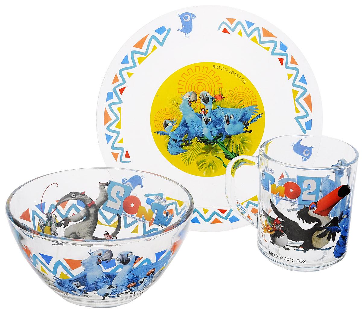 Рио Набор посуды Рио-2, 3 предмета11134219Красочный набор посуды Рио, выполненный из качественного стекла, идеально подойдет для повседневного использования. В комплект входят: тарелка диаметром 19,5 см, салатник диаметром 12,5 см и кружка объемом 250 мл. Все предметы выполнены в оригинальном дизайне с изображением героев из мультфильма Рио. Набор упакован в коробку из плотного картона. Набор посуды непременно доставит массу удовольствия своему обладателю.