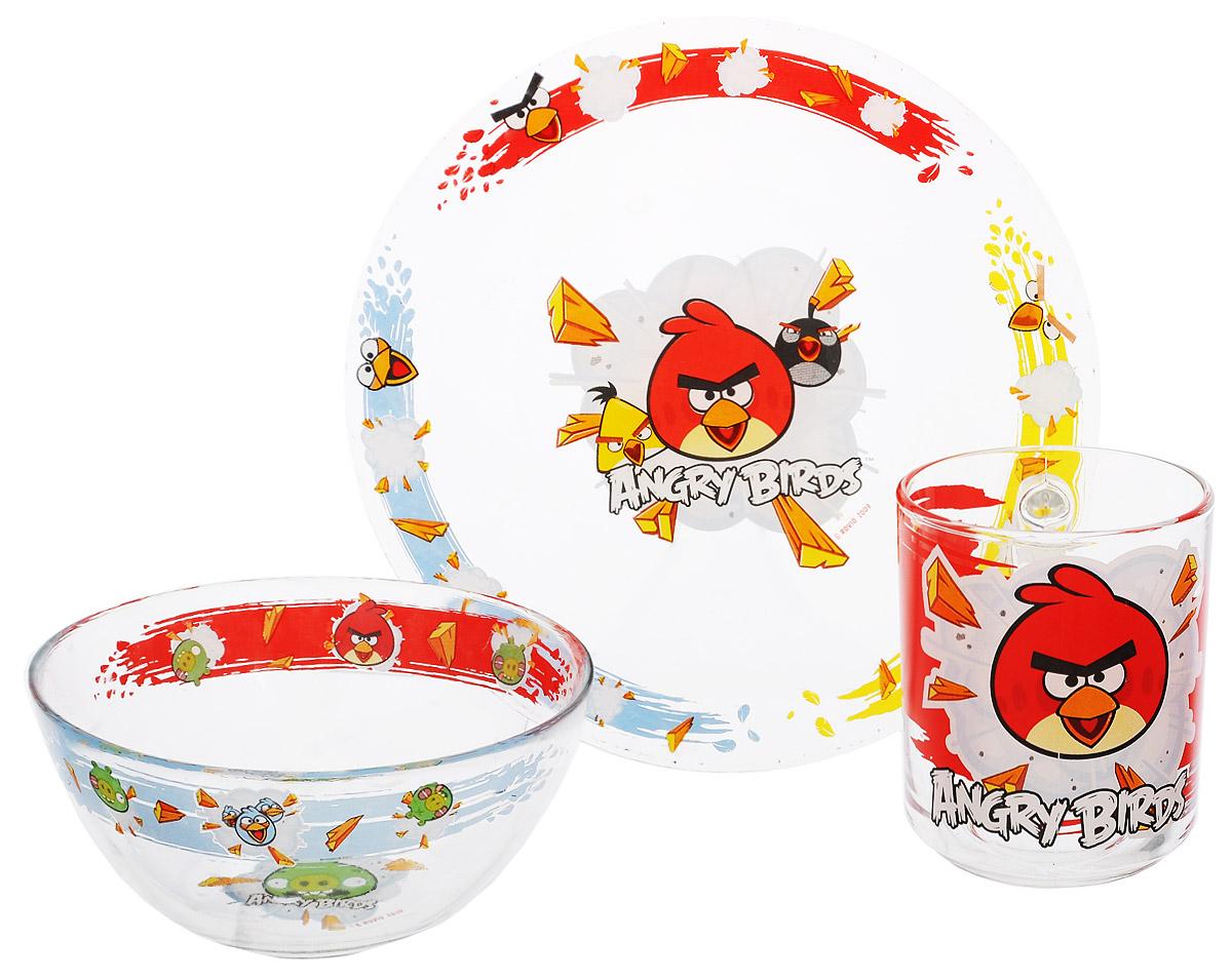 Angry Birds Набор посуды, цвет: прозрачный, 3 предмета95590Красочный набор посуды Angry Birds, выполненный из качественного стекла, идеально подойдет для повседневного использования. В комплект входят: тарелка с диаметром 19 см, пиала объемом 500 мл и кружка объемом 250 мл. Все предметы выполнены в оригинальном дизайне с изображением забавных героев из мультфильма Angry Birds. Набор упакован в коробку из плотного картона. Набор посуды непременно доставит массу удовольствия своему обладателю.