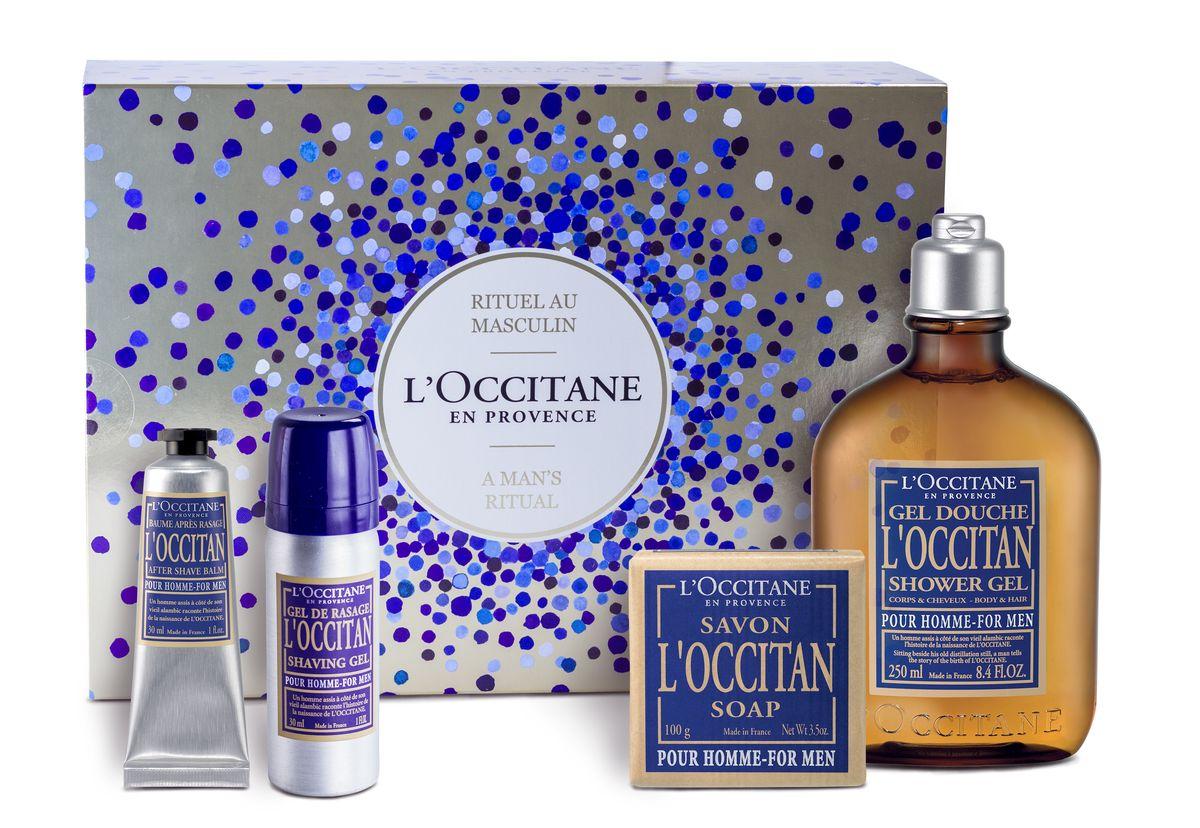 LOccitane Подарочный набор Эталон мужественности: Гель для ванн и душа Локситан 250 мл, Гель для бритья 30 мл, Бальзам после бритья Локистан 30 мл, Мыло туалетное Локситан 100 г (LOccitane En Provence)