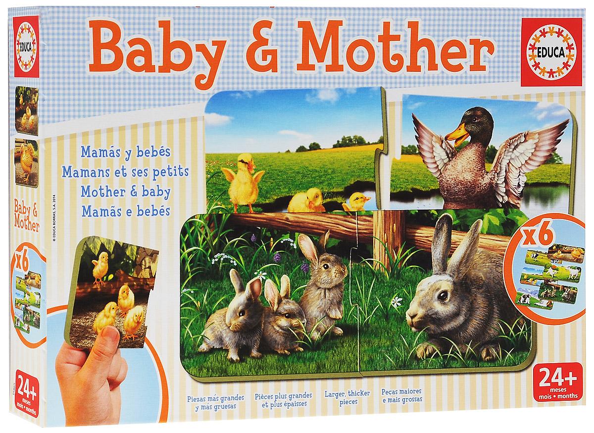 Educa Игра-пазл Мамы и дети, 12 элементов15865Игра-пазл Educa Мамы и дети содержит 6 пазлов по 2 элемента в каждом. На одном элементе изображено взрослое животное, на другом его малыши. Надо найти каждому малышу его маму, воссоединив семью. Каждая деталь встает строго на свое место, поэтому ошибка исключена. Эта игра помогает развить внимательность, моторику, любопытство и воображение.