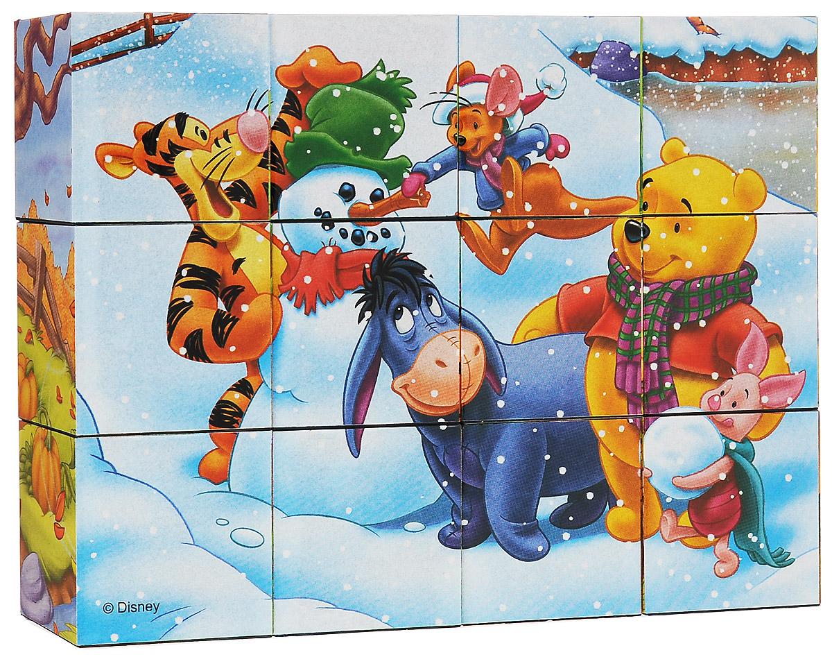 Steppuzzle Кубики Винни Пух: Зима, 12 шт87102С помощью кубиков Винни Пух ребенок сможет собрать шесть великолепных картинок с изображением героев любимого мультфильма. Все кубики упакованы в удобный чемоданчик для бережного хранения. Наборы из 12 кубиков - для тех, кто освоил навык сборки картинки из 9 кубиков. Заложенный дидактический принцип от простого к сложному позволит ребёнку поверить в свои силы. А герои популярных мультфильмов сделают кубики любимой игрушкой. Игра с кубиками развивает зрительное восприятие, наблюдательность и внимание, мелкую моторику рук и произвольные движения. Ребенок научится складывать целостный образ из частей, определять недостающие детали изображения.