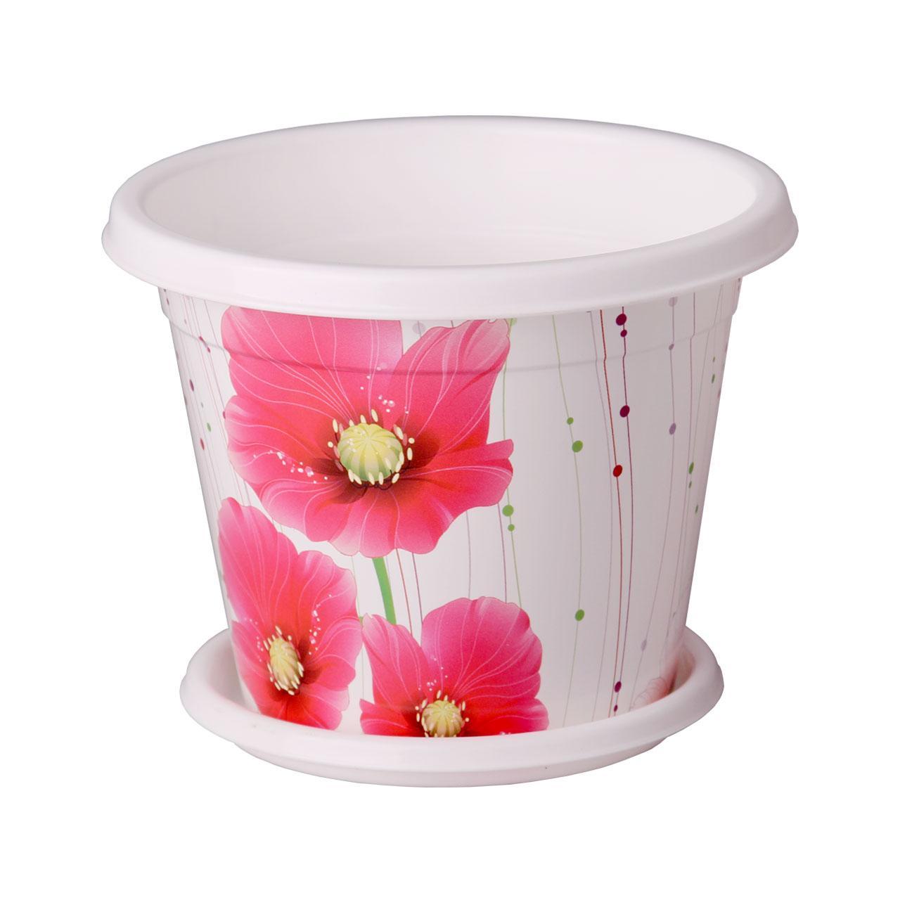 Горшок-кашпо Альтернатива Маки, с поддоном, 1 лМ2652Горшок-кашпо Альтернатива Маки изготовлен из высококачественного пластика и подходит для выращивания растений и цветов в домашних условиях. Такие изделия часто становятся последним штрихом, который совершенно изменяет интерьер помещения или ландшафтный дизайн сада. Благодаря такому горшку-кашпо вы сможете украсить вашу комнату, офис, сад и другие места. Изделие оснащено специальным поддоном и декорировано ярким изображением маков. Объем горшка: 1 л. Диаметр горшка (по верхнему краю): 15 см. Высота горшка: 12 см. Диаметр поддона: 12 см.