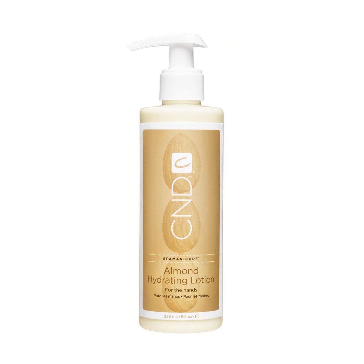 CND Almond Hydrating Lotion Увлажняющий лосьон для рук и тела, 236 мл14184Превосходный увлажняющий лосьон для рук и тела, с натуральным миндалем. В состав средства также входит витамин Е, масло жожоба, которые идеально разглаживают мелкие морщинки и выравнивают цвет кожи, легко впитывается, не оставляет жирного эффекта. Содержащийся в лосьоне глицерин удерживает влагу в коже, за счет чего кожа всегда выглядит ухоженной и свежей. Нет ощущения стянутости, излишней сухости. Также среди основных компонентов, входящих в состав лосьона подсолнечное масло, которое смягчает кожу. Благодаря этому компоненту лосьон может применяться для массажа. Используется как в домашних условиях, так и в SPA-салонах, как профессиональное средство для ухода за кожей рук и тела.