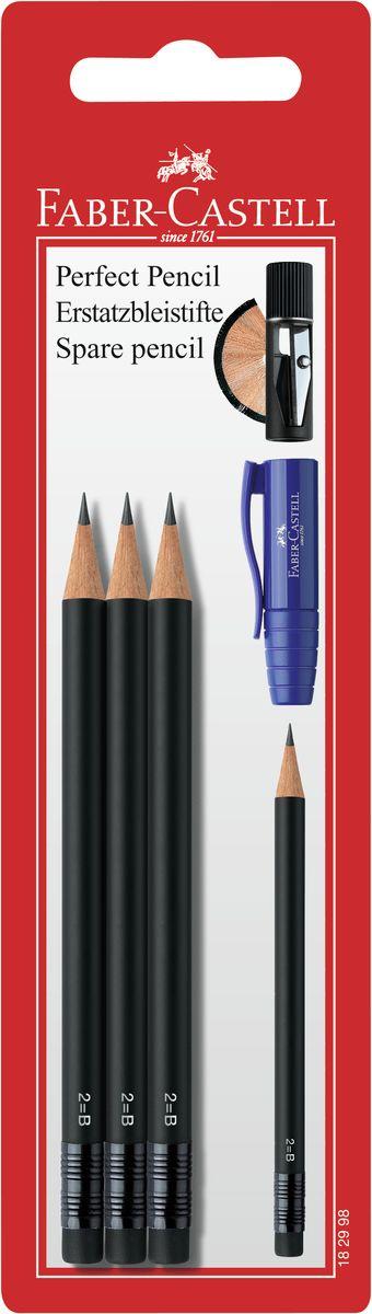 Faber-Castell Чернографитовый карандаш Perfect Pencil 3 шт182998Чернографитовый карандаш с ластиком Faber-Castell Perfect Pencil станет не только идеальным инструментом для письма, рисования или черчения, но и дополнит ваш имидж. Высококачественный ударопрочный грифель не крошится и не ломается при заточке. Качественная мягкая древесина обеспечивает хорошее затачивание. Специальная SV технология вклеивания грифеля предотвращает его поломку при падении на пол. Степень твердости - B.