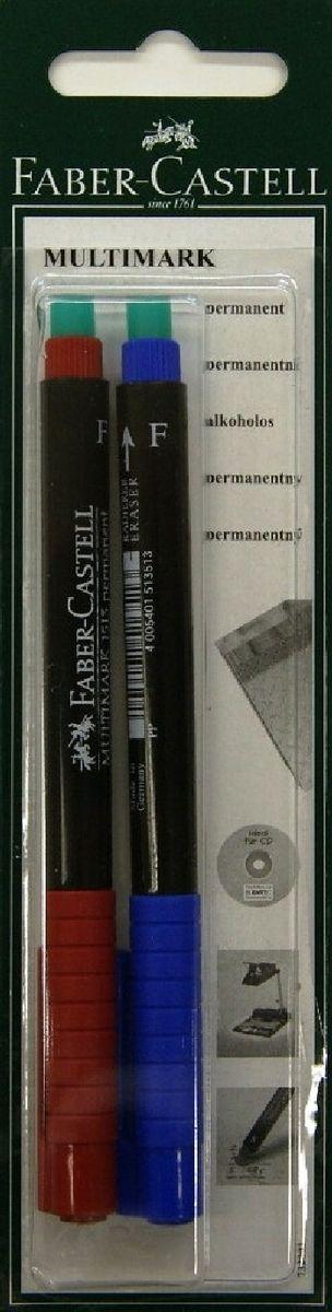 Faber-Castell Капиллярная перманентная ручка Multimark F для письма на CD цвет красный синий 2 шт263258Капиллярная перманентная ручка Multimark предназначена для письма на CD, DVD дисках, пленках для проекторов и других гладких поверхностях. Ручка с обратной стороны имеет специальный ластик для стирания чернил. Чернила быстросохнущие, с яркими цветами, корпус изготовлен из прочного пластика. В наборе 1 ручка синего цвета и 1 ручка красного цвета.