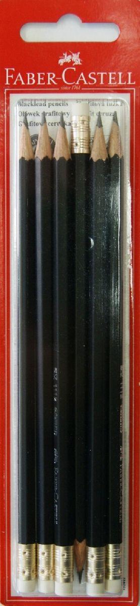 Чернографитовый карандаш 1111 с ластиком, твердость HB, в блистере, 6 шт.