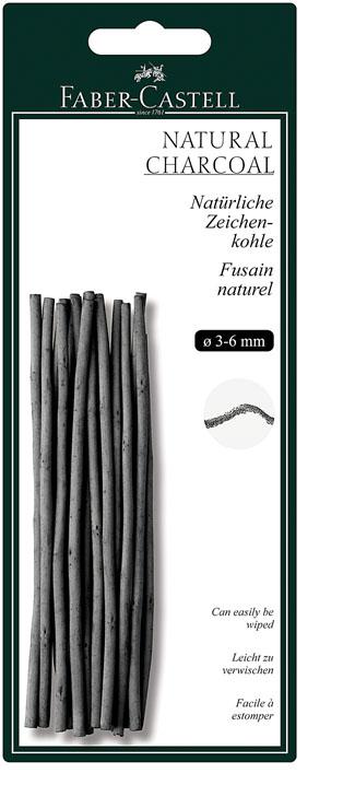 Faber-Castell Натуральный уголь Pitt Monochrome диаметр 3-6 мм 12 шт129198Набор стержней из натурального угля для рисования Faber-Castell Pitt Monochrome состоит из 12 углей, выполненных в форме карандаша. Это один из самых уникальных и высококачественных продуктов компании Faber-Castell (Германия). Натуральный уголь изготовлен из буковых или вербных веточек. Отличается насыщенным и равномерным черным цветом с синеватым оттенком. Уголь - это быстрый, линейный и чувственный рисовальный инструмент. Он может создать как выразительные, так и мягкие линии, гибкость которых непревзойденна. Характер и воздействие угольного штриха определяется способом ведения угля. Углем можно создавать мягкие и проработанные тоновые эффекты различными способами. В комплект входят 12 угольных стержней диаметром от 3 до 6 мм.