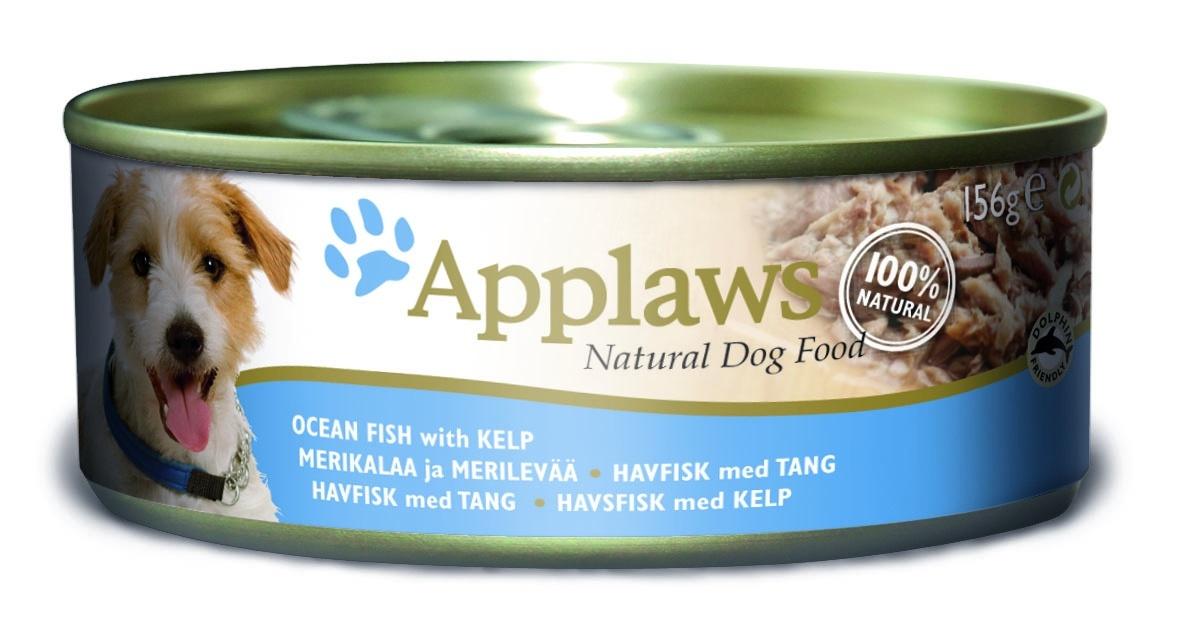 """Консервы для Собак с Океанической рыбой и морской капустой (Dog Ocean Fish with Kelp), 156 г10285Один из девизов компании Applaws – """"Все только натуральное и качественное!"""". Поэтому вся продукция выпускается согласно строгому регламенту качества, каждая партия продукции проходит обязательную проверку и анализы. Консервы изготовлены из свежего мяса 75%, приготовленного в собственном бульоне 24%. В состав каждого рецепта входит только три/четыре основных ингредиента и ничего более. Не содержит ГМО, синтетических консервантов или красителей. Не содержит вкусовых добавок. Состав: Скумбрия 40%, филе тунца 30%, рыбный бульон 20%, морская капуста 5%, рис 5%. Гарантированный анализ: Белок 12%, Клетчатка 1%, Жиры 1%, Зола 3%, Влага 83."""