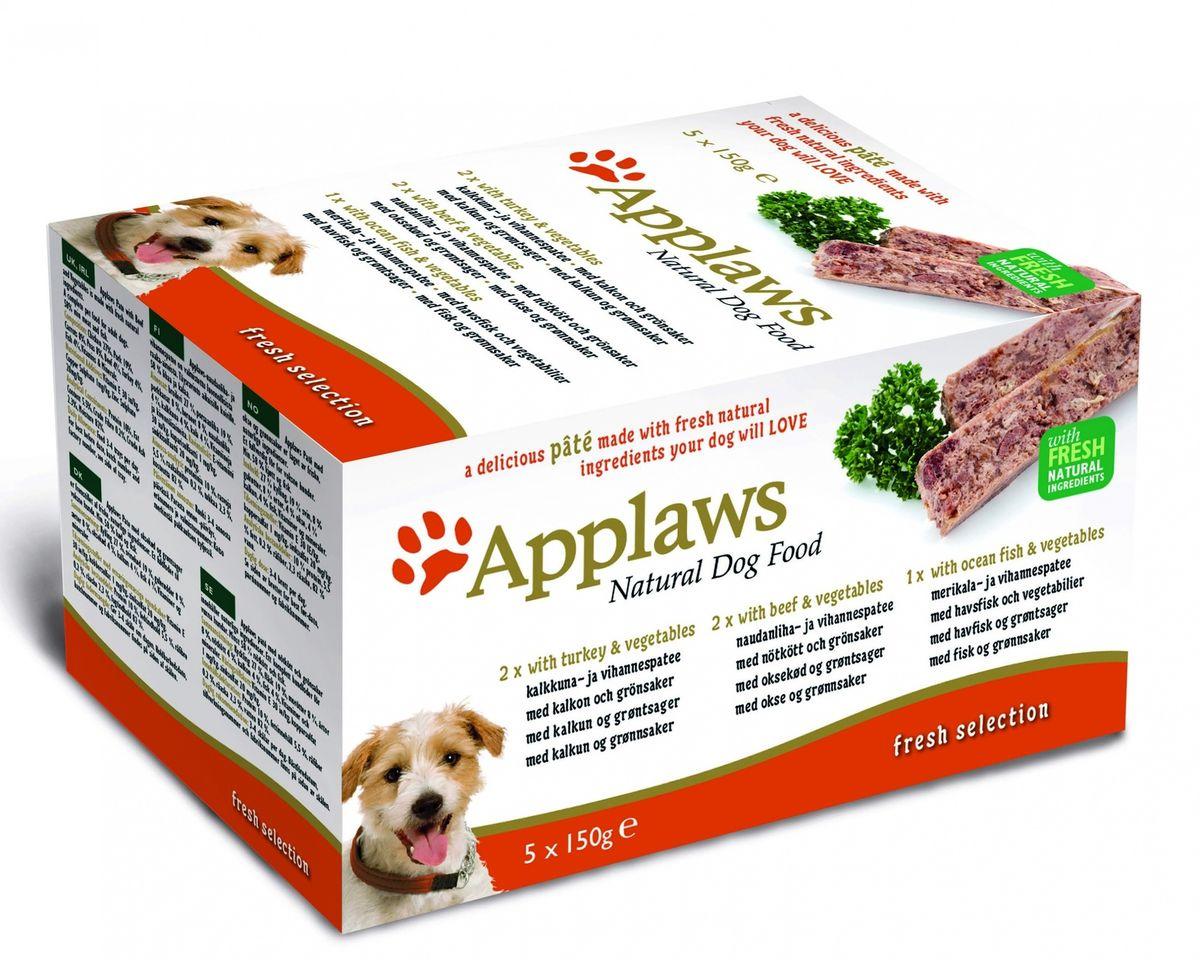 Набор для Собак Индейка, Говядина, Океаническая рыба, 5шт.*150г (Dog Pate MP Fresh Selection- Turkey, beef, ocean fish), 750 г10298Нежный паштет Applaws – это полнорационная порция мясного/рыбного мусса с добавлением всех необходимых для собаки витаминов и минералов. Упаковка в виде алюминиевого контейнера прекрасно сохраняет качество ингредиентов и его непревзойденный вкус. Набор состоит из: -2 х Индейка с овощами Условия хранения: в прохладном темном месте