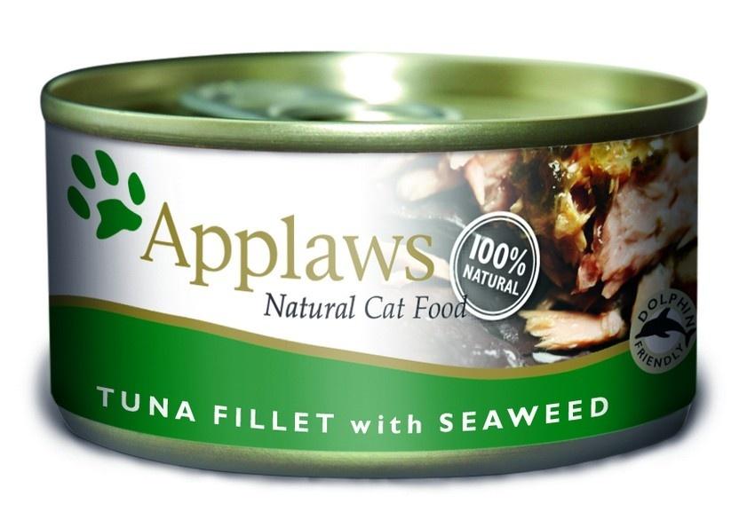 """Консервы для Кошек с филе Тунца и морской капустой (Cat Tuna Fillet & Seaweed), 70 г24333Один из девизов компании Applaws – """"Все только натуральное и качественное!"""". Поэтому вся продукция выпускается согласно строгому регламенту качества, каждая партия продукции проходит обязательную проверку и анализы. Консервы изготовлены из свежего мяса 75%, приготовленного в собственном бульоне 24%. В состав каждого рецепта входит только три/четыре основных ингредиента и ничего более. Не содержит ГМО, синтетических консервантов или красителей. Не содержит вкусовых добавок. Состав: Филе тунца 70%, рыбный бульон 24%, морские водоросли 5%, рис 1%. Гарантированный анализ: Белок 15%, Клетчатка 1%, Жиры 0,5%, Зола 2,5%, Влага 82%. Условия хранения: в прохладном темном месте"""
