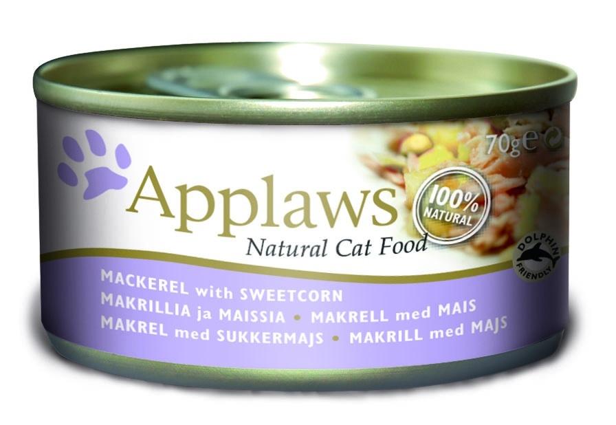"""Консервы для Кошек со Скумбрией и Сладкой кукурузой (Cat Mackerel & Sweetcorn), 70 г24337Один из девизов компании Applaws – """"Все только натуральное и качественное!"""". Поэтому вся продукция выпускается согласно строгому регламенту качества, каждая партия продукции проходит обязательную проверку и анализы. Консервы изготовлены из свежего мяса 75%, приготовленного в собственном бульоне 24%. В состав каждого рецепта входит только три/четыре основных ингредиента и ничего более. Не содержит ГМО, синтетических консервантов или красителей. Не содержит вкусовых добавок. Состав: Филе скумбрии 70%, рыбный бульон 21%, сладкая кукуруза 5%, рис 4%. Гарантированный анализ: Белок 14%, Клетчатка 1%, Жиры 1%, Зола 1%, Влага 82%. Условия хранения: в прохладном темном месте"""