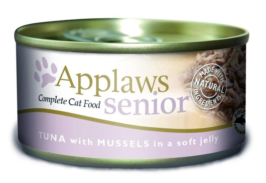 """Кусочки в желе для Пожилых кошек с Тунцом и Мидиями (Senior Cat Tuna with Mussels in Jelly), 70 г24346Данный рецепт разработан специально для пожилых кошек и учитывает все их нужды. Мидии прекрасный источник Витамина В12, селена, цинка, Витамина С и жирных кислот,таких как Омега 3, все эти витамины и микроэлементы оказывают благоприятное влияние на суставы и кожное покрытие пожилых кошек. Один из девизов компании Applaws – """"Все только натуральное и качественное!"""". Поэтому вся продукция выпускается согласно строгому регламенту качества, каждая партия продукции проходит обязательную проверку и анализы. Консервы изготовлены из свежего мяса 75%, приготовленного в собственном бульоне 24%. В состав каждого рецепта входит только три/четыре основных ингредиента и ничего более. Не содержит ГМО, синтетических консервантов или красителей. Не содержит вкусовых добавок. Состав: Кусочки тунца 40%, мидии 4%. Гарантированный анализ: Белки 12%, Жиры 1%, Зола 1,5%, Клетчатка 1%, Влага 82%."""