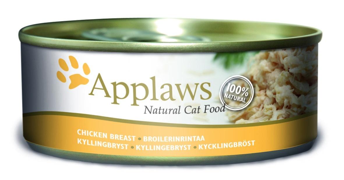"""Консервы для Кошек с Куриной грудкой (Cat Chicken Breast), 156 г24351Один из девизов компании Applaws – """"Все только натуральное и качественное!"""". Поэтому вся продукция выпускается согласно строгому регламенту качества, каждая партия продукции проходит обязательную проверку и анализы. Консервы изготовлены из свежего мяса 75%, приготовленного в собственном бульоне 24%. В состав каждого рецепта входит только три/четыре основных ингредиента и ничего более. Не содержит ГМО, синтетических консервантов или красителей. Не содержит вкусовых добавок. Состав: Филе куриной грудки 75%, куриный бульон 24%, рис 1%. Гарантированный анализ: Белок 14%, Клетчатка 1%, Жиры 0,3%, Зола 2%, Влага 82%. Условия хранения: в прохладном темном месте"""