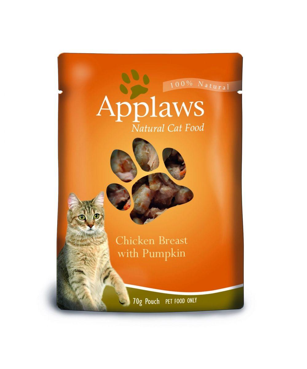Паучи для Кошек с Курицей и Тыквой (Cat Chicken & Pumpkin pouch), 70 г24361Паучи для кошек Applaws – это 70г настоящего удовольствия для кошек. Нежное мясо/рыба в собственном бульоне с лакомыми добавками, как: креветки, спаржа, анчоусы и пр. Ламинированная упаковка из пищевой фольги прекрасно сохраняет все вкусовые качества рецепта. В состав паучей входят только перечисленные компоненты. Продукт не содержит ГМО, синтетических добавок, усилителей вкуса и красителей. Applaws – все только натурально, ничего лишнего! Состав: Филе куриной грудки 50%, куриный бульон 24%, тыква 25%, рис 1%. Гарантированный анализ: Белок 12%, Жиры 0,3%, Зола 0,5%, Клетчатка 0,2%, Влага 81%.