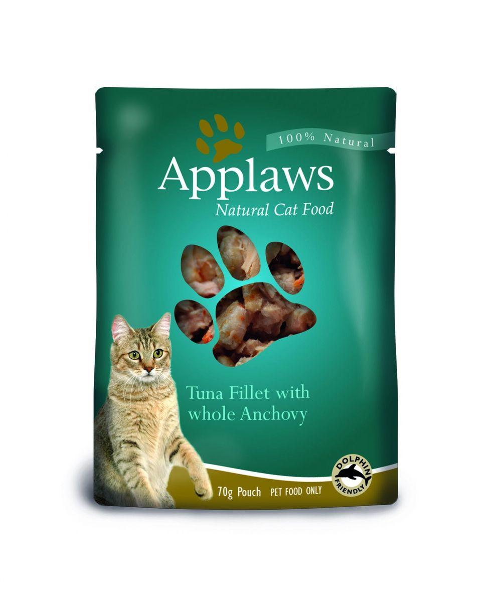 Паучи для Кошек с Тунцом и Анчоусами (Cat Tuna & Anchovy pouch), 70 г24364Паучи для кошек Applaws – это 70г настоящего удовольствия для кошек. Нежное мясо/рыба в собственном бульоне с лакомыми добавками, как: креветки, спаржа, анчоусы и пр. Ламинированная упаковка из пищевой фольги прекрасно сохраняет все вкусовые качества рецепта. В состав паучей входят только перечисленные компоненты. Продукт не содержит ГМО, синтетических добавок, усилителей вкуса и красителей. Applaws – все только натурально, ничего лишнего! Состав: Филе тунца 60%, рыбный бульон 24%, морская капуста 10%, анчоусы 5%, рис 1%. Гарантированный анализ: Белок 18%, Жиры 0,4%, Зола 1%, Клетчатка 0,1%, Влага 77%.