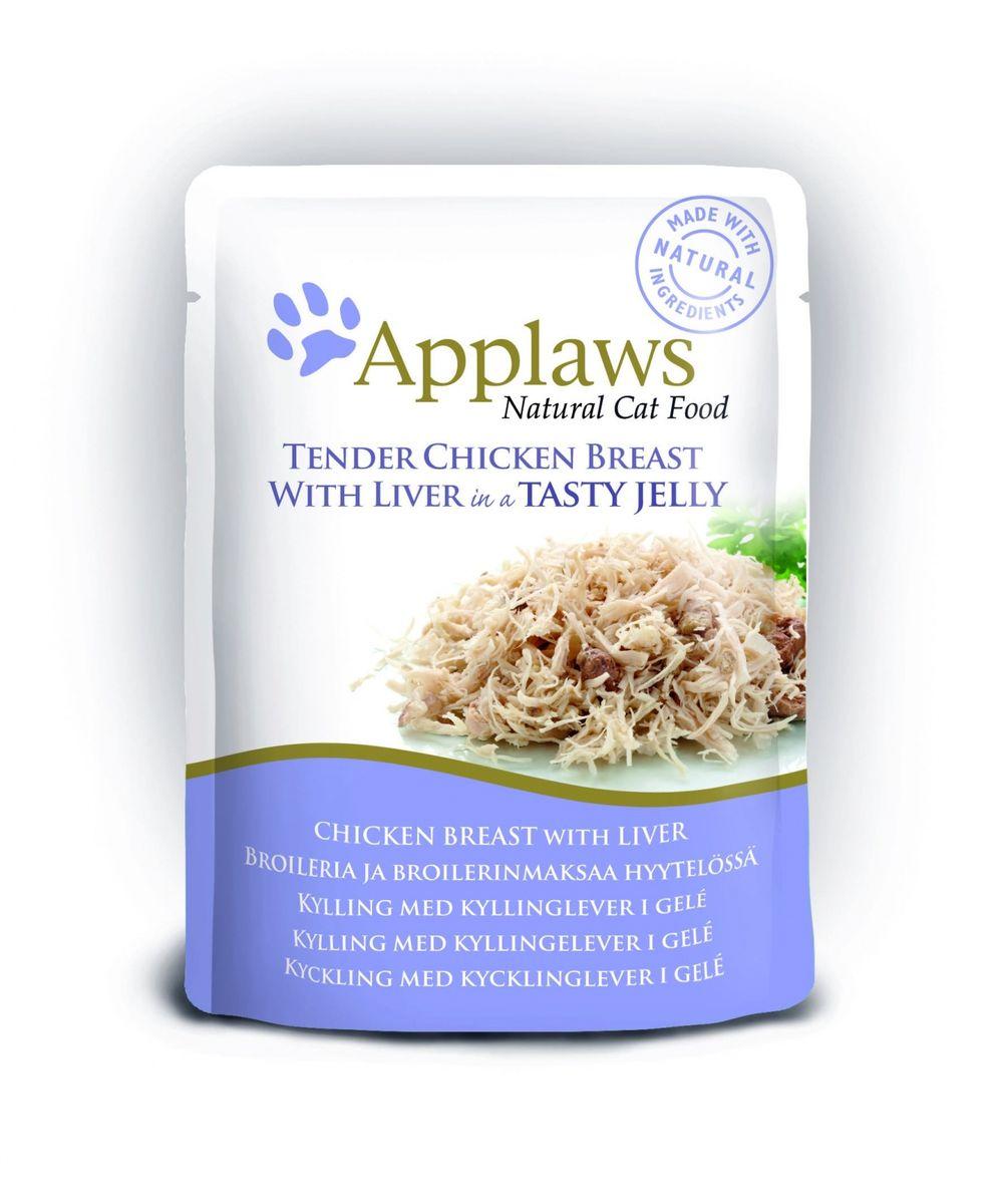 Паучи для Кошек Кусочки Курицы с Печенью в желе (cat pouch chicken with liver in jelly), 70 г24367Нежные кусочки в аппетитном желе для кошек изготовленные из свежего мяса или рыбы. Желе приготовлено из бульона при помощи натуральных загустителей. Известно, что желе помогает пищеварению кошек – легко переваривается, дает дополнительную влагу, также помогает при выводе шерсти. Состав: Филе куриной грудки 55%, печень 7%, растительный желлирующий компонент (пектин) 1%. Гарантированный анализ: Белок 12,5%, Клетчатка 1%, Жиры 1%, Зола 1%, Влага 84%. Условия хранения: в прохладном темном месте