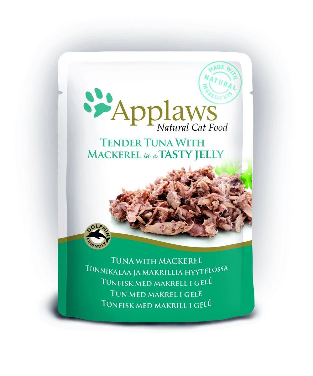 Паучи для Кошек Кусочки тунца со Скумбрией в желе (cat pouch tuna wholemeat with mackerel in jelly), 70 г24371Нежные кусочки в аппетитном желе для кошек изготовленные из свежего мяса или рыбы. Желе приготовлено из бульона при помощи натуральных загустителей. Известно, что желе помогает пищеварению кошек – легко переваривается, дает дополнительную влагу, также помогает при выводе шерсти. Состав: Филе тунца 55%, филе скумбрии 8,5%, растительный желлирующий компонент (пектин) 1%. Гарантированный анализ: Белок 12,5%, Клетчатка 1%, Жиры 1%, Зола 1%, Влага 84%. Условия хранения: в прохладном темном месте