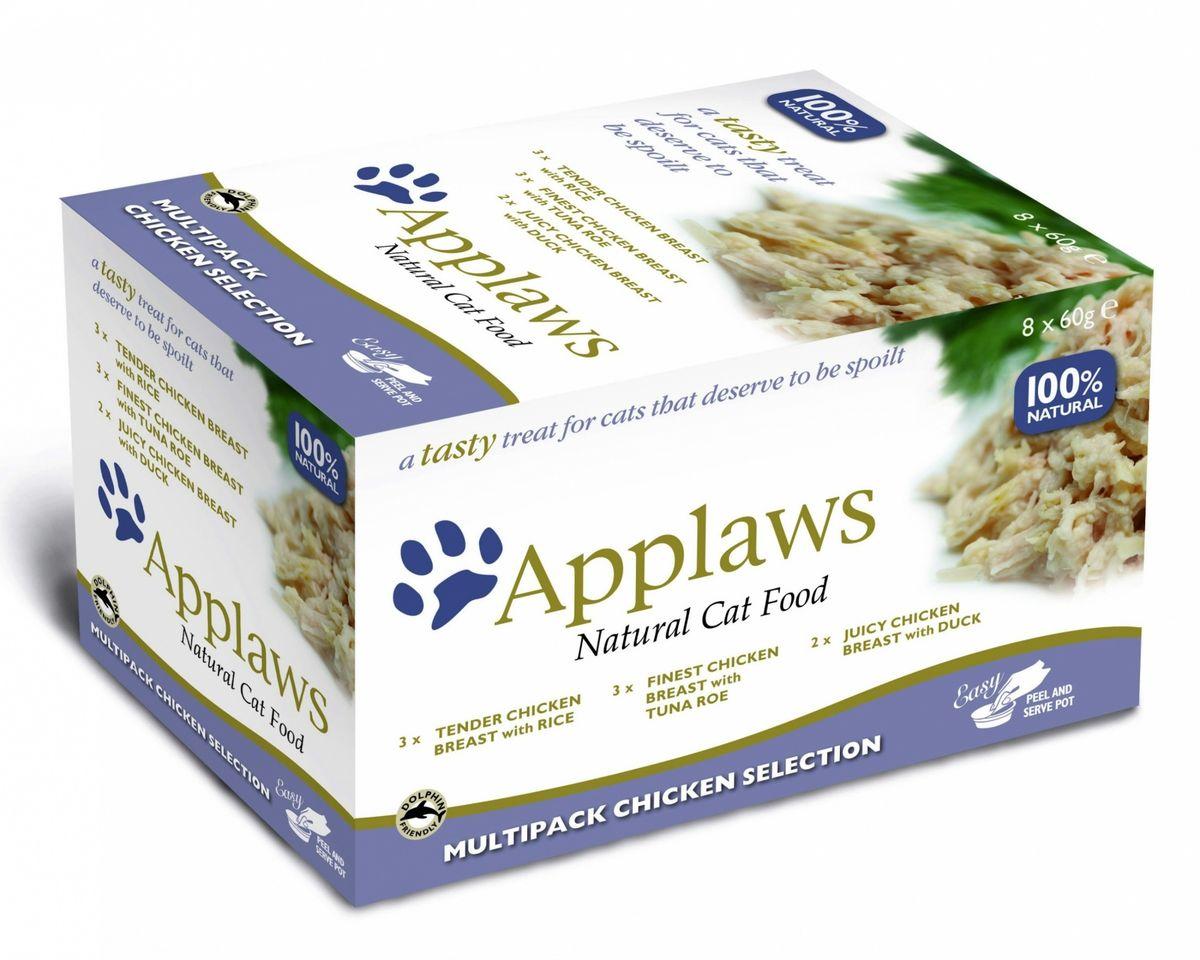 Набор консервов для кошек Applaws Куриное ассорти, 8 шт, 480 г24387Для приготовления любого блюда Appalws использует мясо животных свободного выгула, выращенных на фермах Англии. Уникальный дизайн упаковки прекрасно заменяет миску для вашего любимца. Вся линейка консервов приготовлена только из свежих и качественные ингредиентов. Консервы не содержат красителей, усилителей вкуса и запаха, продуктов ГМО. В набор входят: Консервы для кошек Отборная куриная грудка с икрой тунца - 3 шт. Состав: филе куриной грудки 54%, куриный бульон 35%, икра тунца 6%, рис 5%. Гарантированный анализ: Белки 11%, Клетчатка 0,5%, Жиры 1%, Зола 1%, Влага 84%. Фасовка: 60 г. Консервы для кошек Нежнейшая куриная грудка с рисом - 3 шт. Состав: филе куриной грудки 60%, куриный бульон 35%, рис 5%. Гарантированный анализ: Белки 11%, Клетчатка 0,5%, Жиры 0,5%, Зола 0,5%, Влага 85%. Фасовка: 60 г. Консервы для кошек Сочная куриная грудка с уткой - 2 шт. Состав: филе куриной грудки 55%, куриный бульон 35%, филе...