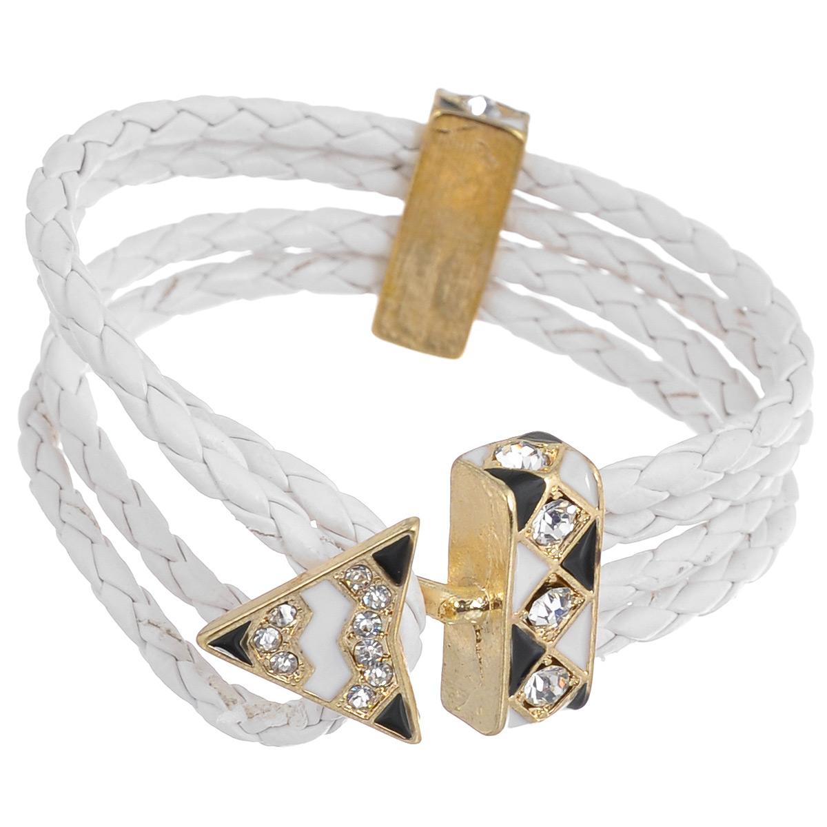 Браслет Avgad, цвет: золотистый, белый. BR77KL80BR77KL80Элегантный браслет Avgad выполнен в виде основы из четырех кожаных плетеных шнуров. Центральный элемент изделия выполнен в виде замка-петли, который оформлен стразами и эмалью. Благодаря эластичной основе и подвижным элементам изделие идеально разместиться на запястье. Такой браслет позволит вам с легкостью воплотить самую смелую фантазию и создать собственный, неповторимый образ.