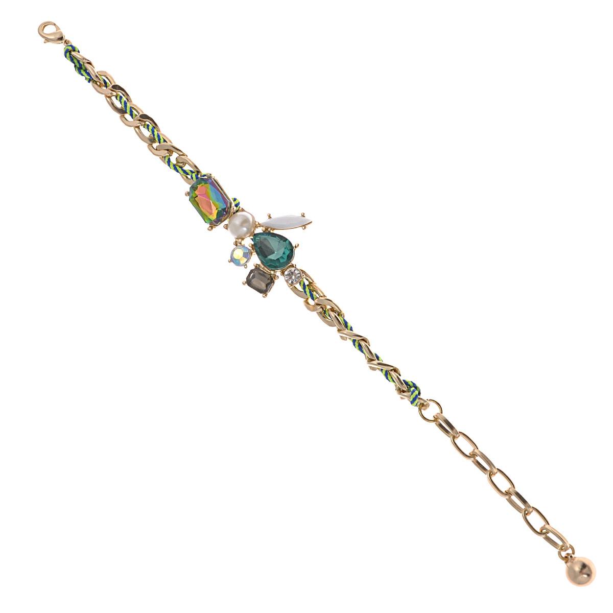 Браслет Avgad, цвет: золотистый, зеленый. BR77KL96BR77KL96Оригинальный браслет Avgad изготовлен из ювелирного сплава и текстильного шнурка и декорирован стразами и искусственными камнями разных цветов и размеров. Застегивается изделие на замок-карабин. Длина регулируется за счет цепочки. Это оригинальное украшение внесет изюминку в ваш модный образ и позволит выделиться среди окружающих.