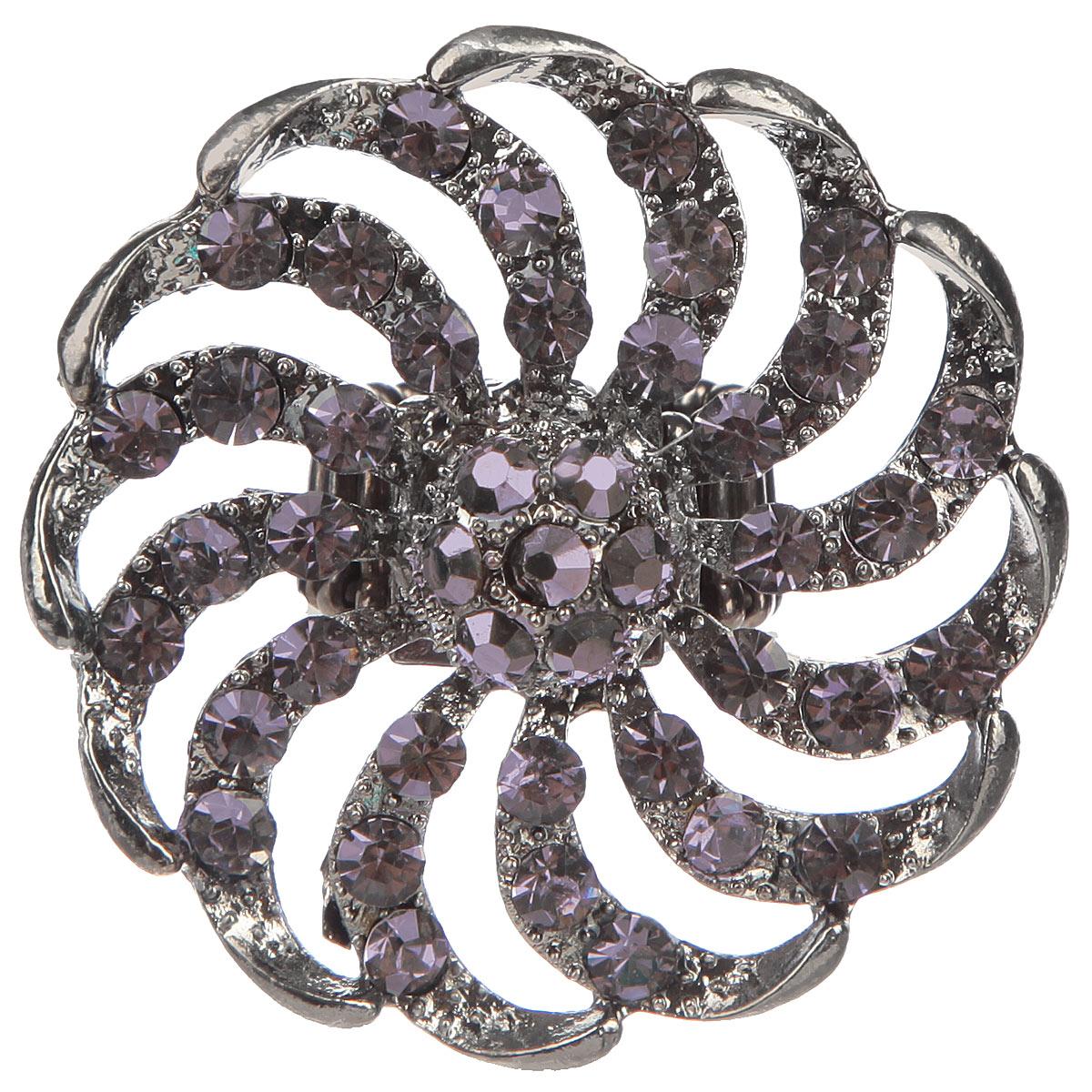 Кольцо Avgad, цвет: антрацитовый. EA178JW158404-661_31932Оригинальное кольцо Avgad выполнено из ювелирного сплава антрацитового цвета и дополнено стразами. Оно позволит вам с легкостью создать собственный, неповторимый образ. Элементы соединены с помощью тонкой резинки, благодаря этому оно легко одевается и снимается. Диаметр декоративного элемента 5,5 см. Размер кольца универсальный.