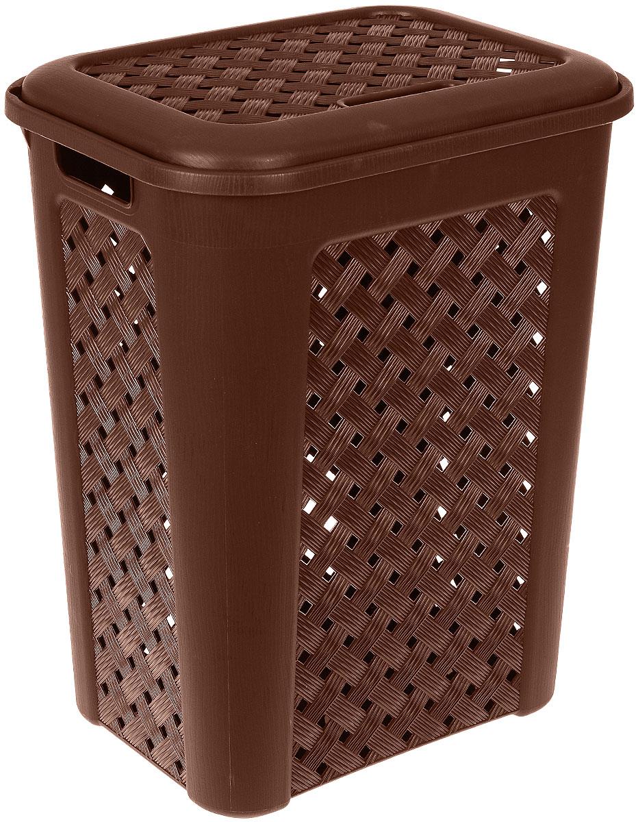 Корзина для белья Виола, цвет: коричневый, 50 л205Вместительная корзина Виола изготовлена из прочного цветного пластика. Она отлично подойдет для хранения белья перед стиркой. Специальные отверстия на стенках создают идеальные условия для проветривания. Изделие оснащено крышкой и двумя эргономичными ручками для переноски. Такая корзина для белья прекрасно впишется в интерьер ванной комнаты.