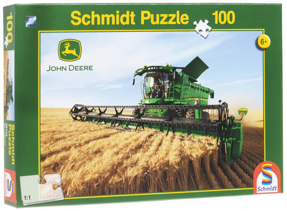 Schmidt Пазл Комбайн, 100 элементов. 5614456144Пазл Комбайн непременно придется вам по душе. Собрав этот пазл, включающий в себя 100 элементов, вы получите красочную картинку с изображением комбайна John Deere. Пазл - великолепная игра для семейного досуга. Сегодня собирание пазлов стало особенно популярным, главным образом, благодаря своей многообразной тематике, способной удовлетворить самый взыскательный вкус. А для детей это не только интересно, но и полезно. Собирание пазла развивает мелкую моторику рук у ребенка, тренирует наблюдательность, логическое мышление, знакомит с окружающим миром, с цветом и разнообразными формами.