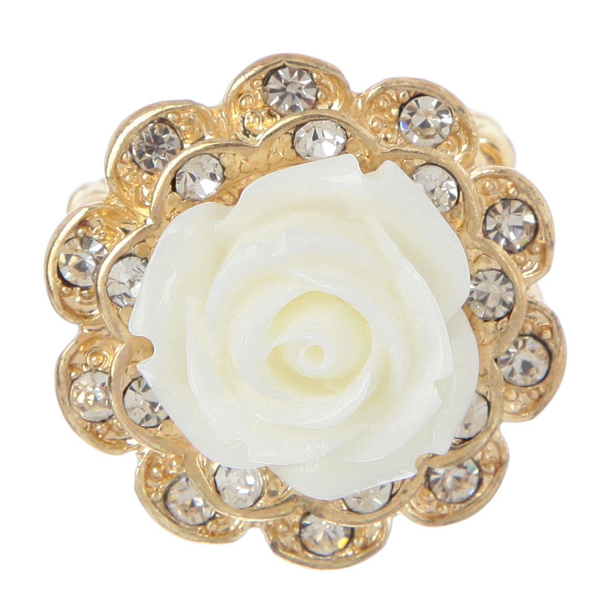 Кольцо Avgad, цвет: золотистый, белый. EA178JW174EA178JW162Оригинальное кольцо Avgad, выполненное из ювелирного сплава, дополнено белой розой из акрила и стразами. Оно позволит вам с легкостью создать собственный, неповторимый образ. Элементы соединены с помощью тонкой резинки, благодаря этому оно легко одевается и снимается. Размер универсальный.