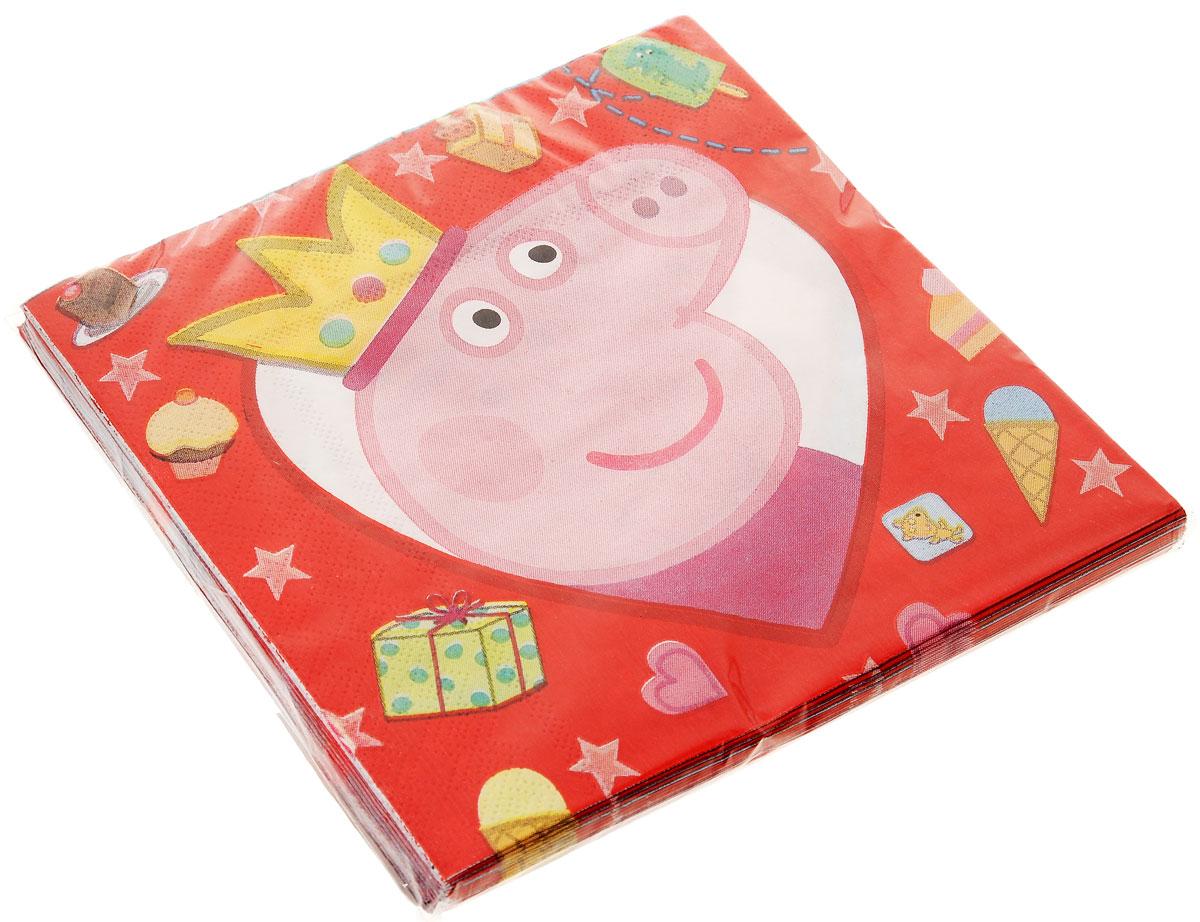 Peppa Pig Салфетки Свинка Пеппа26062Бумажные двухслойные салфетки Peppa Pig Свинка Пеппа станут украшением детского праздничного стола. Каждая салфетка с двух сторон украшена изображением Свинки Пеппы в рамочке в виде сердечка. Салфетки имеют плотность 18 gsm, размер 33х33 см. Подарите детям праздничное настроение! В упаковке 20 салфеток.