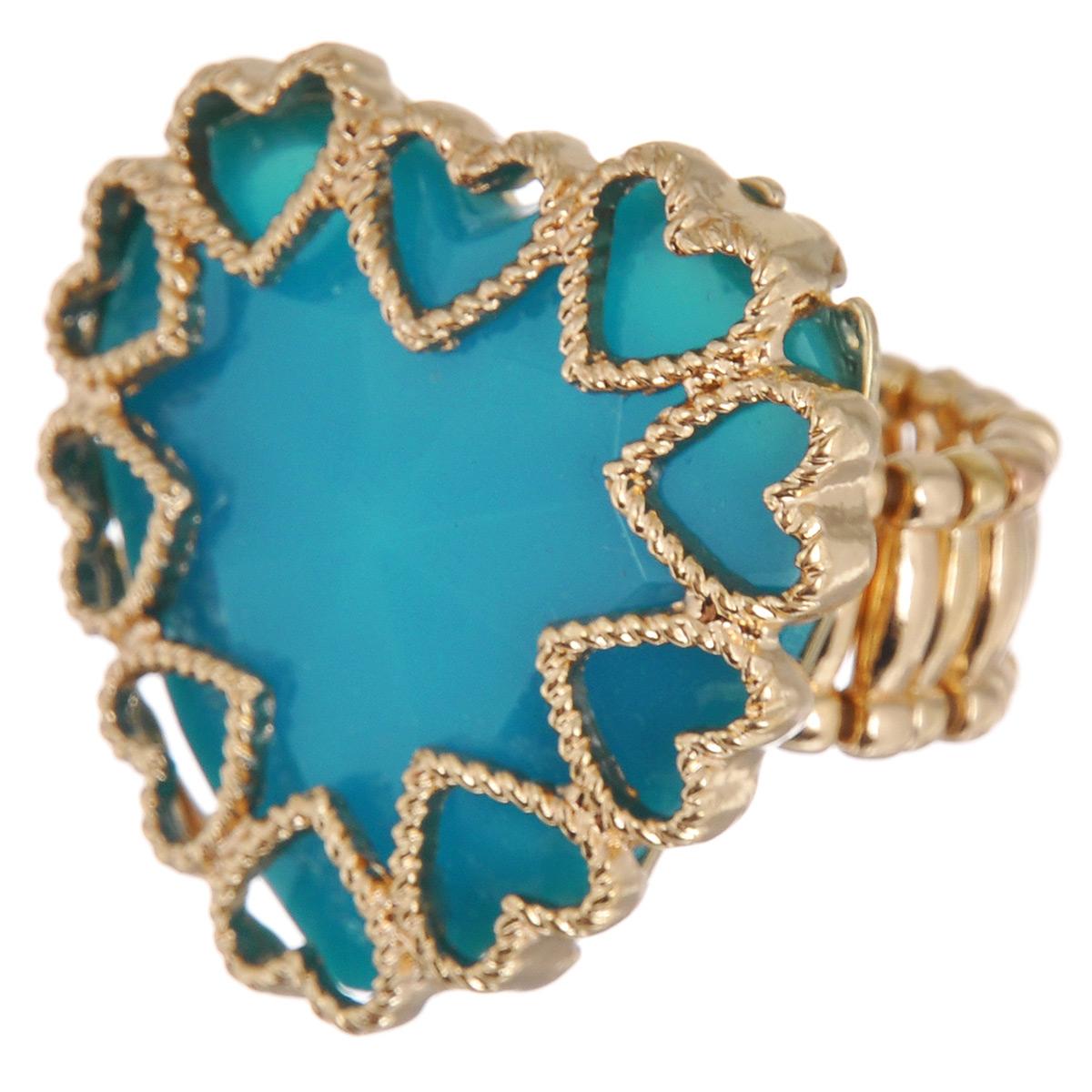 Кольцо Avgad, цвет: золотистый, голубой. EA178JW183EA178JW183Оригинальное кольцо Avgad выполнено из ювелирного сплава в виде сердца. Изделие оформлено вставкой из акрила. Элементы кольца соединены с помощью тонкой резинки, благодаря этому оно легко одевается и снимается. Размер универсальный. Кольцо позволит вам с легкостью воплотить самую смелую фантазию и создать собственный, неповторимый образ.