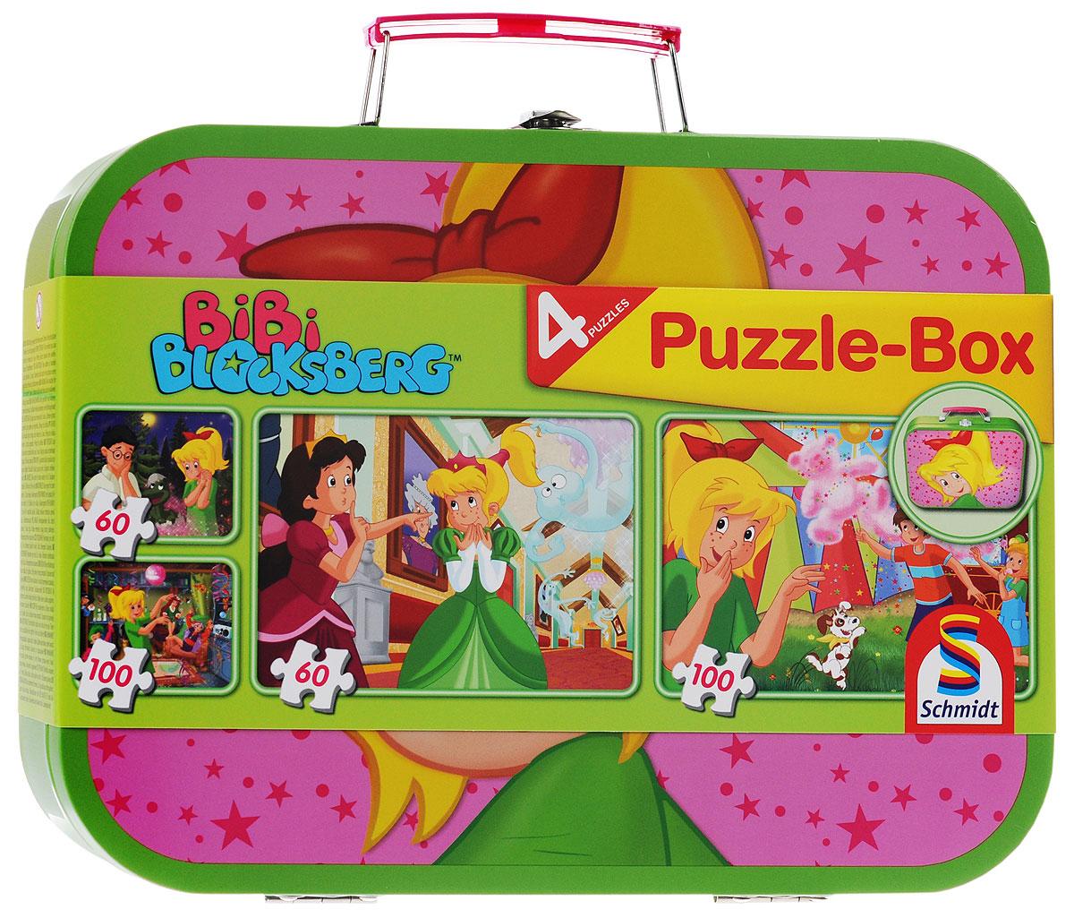 Schmidt Набор пазлов Bibi Blocksberg, в чемоданчике, 320 элементов55595Набор пазлов Bibi Blocksberg непременно понравится вашему ребенку. В наборе 4 картинки: 2 по 100 и 2 по 60 элементов. В результате сборки вы получите 4 интересные картинки с героями из любимого мультфильма. Набор упакован в металлический чемоданчик с ручкой, для удобной переноски пазлов. Чемоданчик закрывается на металлический замок-защелку. Собирание пазла развивает мелкую моторику рук у ребенка, тренирует наблюдательность, логическое мышление, знакомит с окружающим миром, с цветом и разнообразными формами.
