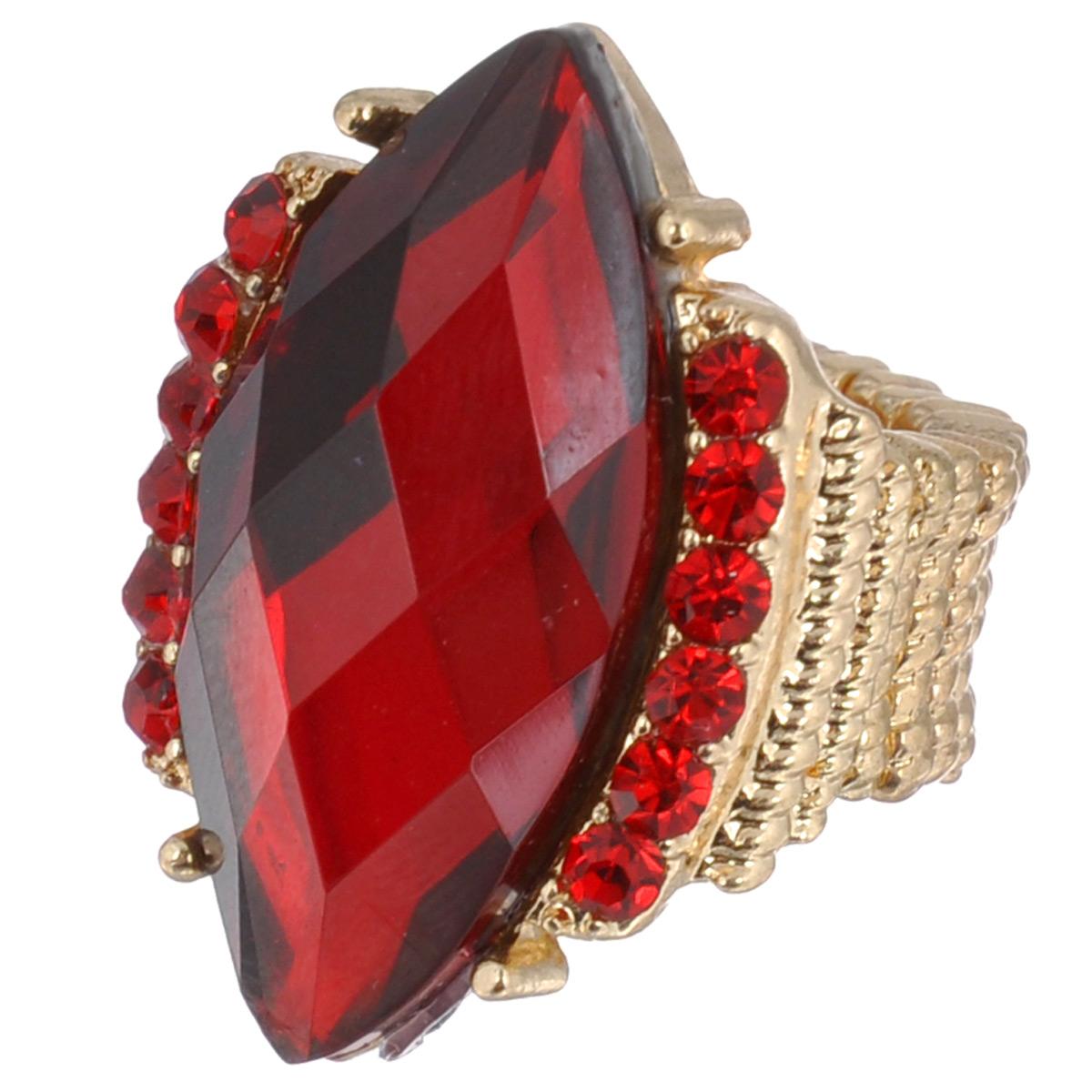 Кольцо Avgad, цвет: золотистый, красный. EA178JW175EA178JW175Оригинальное кольцо Avgad, выполненное из ювелирного сплава золотистого цвета, декорировано камнем и стразами. Элементы кольца соединены с помощью тонкой резинки, благодаря этому оно легко одевается и снимается. Размер универсальный. Кольцо позволит вам с легкостью воплотить самую смелую фантазию и создать собственный, неповторимый образ.