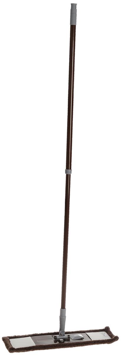 Швабра Флэт, с телескопической ручкой и сменной насадкой, цвет: серый, светло-серый68951_серый, светло-серыйШвабра Флэт предназначена для сухой и влажной уборки в доме. Швабра удобна в использовании благодаря подвижному креплению ручки к моющей платформе с насадкой. Сменная насадка выполнена из микрофибры, которая впитывает воду и грязь подобно губке. Такая насадка позволит вам использовать во время уборки меньшее количество чистящих средств. Насадка из микрофибры легко удаляет пыль, не оставляя разводов и ворсинок. Она подходит для всех видов гладких полов из плитки, паркета, ламината и камня. Швабра оснащена удобной металлической телескопической ручкой с подвижной частью и фиксацией, которая позволяет использовать ее в труднодоступных местах. На конце ручки имеется специальная петля, благодаря которой швабру можно подвесить в любом удобном месте. Платформа швабры выполнена из высокопрочного пластика. Платформа может двигаться под любым углом, на любой плоскости. Подвижная платформа позволяет вымыть полы, не отодвигая крупногабаритную мебель, протереть...