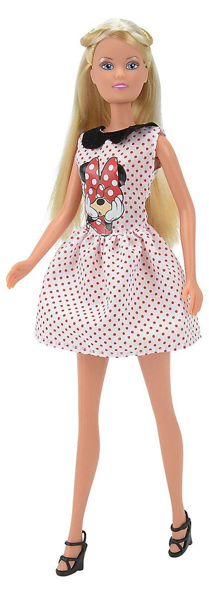 Simba Кукла Minnie Mouse Штеффи. Городской стиль цвет платья белый в горошек5745871_белый в горошекКукла Steffi Minnie Mouse непременно приведет в восторг вашу малышку и обязательно станет ее любимой игрушкой. Очаровательная кукла одета в стильное белое платье с красным горошком, декорированное аппликацией с изображением Минни Маус. Наряд дополняет черный воротничок и черные босоножки на каблуках. Вашей дочурке непременно понравится расчесывать и заплетать длинные белокурые волосы куклы. Руки, ноги и голова куклы подвижны, что позволяет придавать ей различные позы. Коробка дополнена небольшим брелоком в тематике Minnie Mouse. Благодаря играм с куклой, ваша малышка сможет развить фантазию и любознательность, овладеть навыками общения и научиться ответственности. Девочка сможет часами играть с этой милой куколкой, придумывая различные истории.