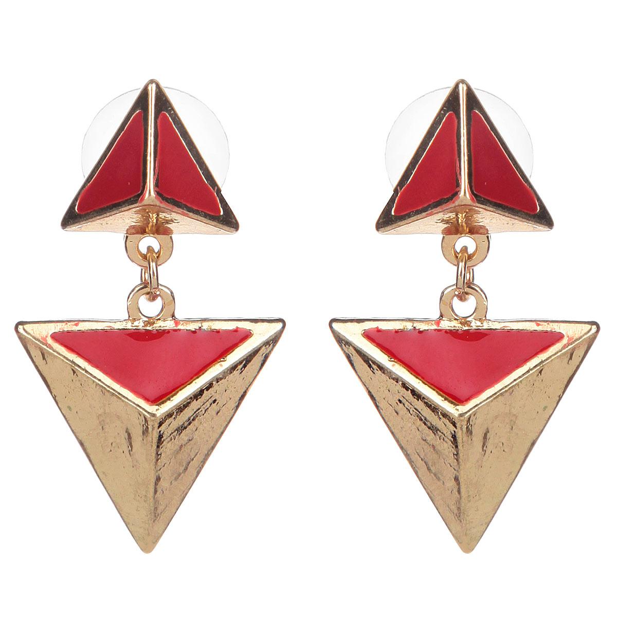 Серьги Avgad, цвет: золотистый, красный. EA178JW120EA178JW120Стильный аксессуар не оставит равнодушными истинных модниц! Длина серег = 5 см