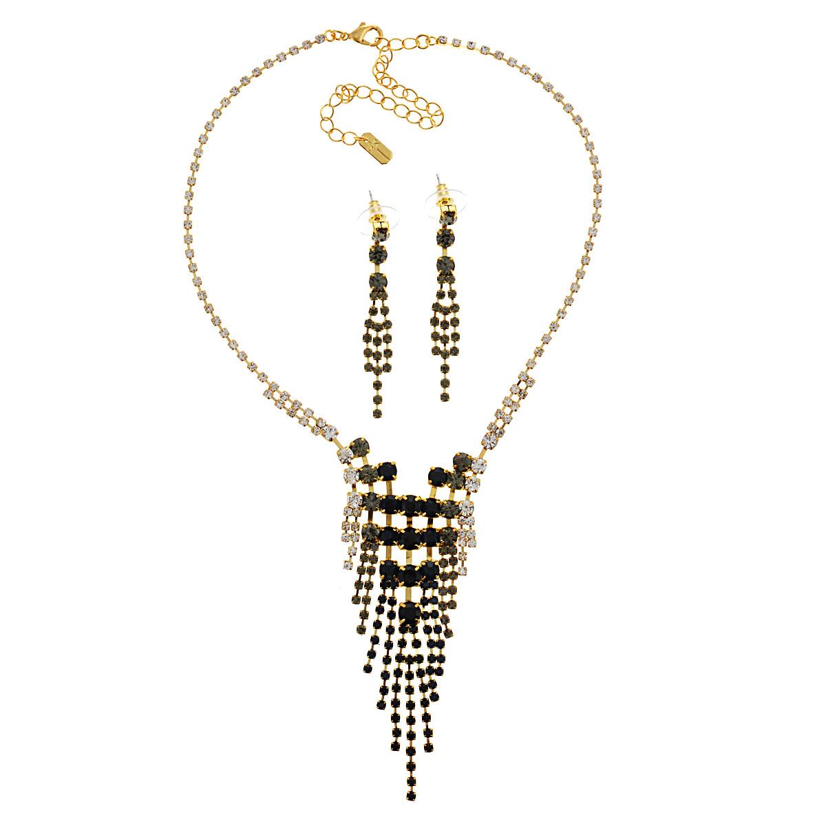 Комплект украшений Avgad: колье, серьги, цвет: золотистый, темно-серый. H-477S883